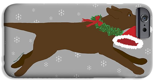 Chocolate Lab Digital Art iPhone Cases - Chocolate Labrador Steals Santas Hat iPhone Case by Amy Reges