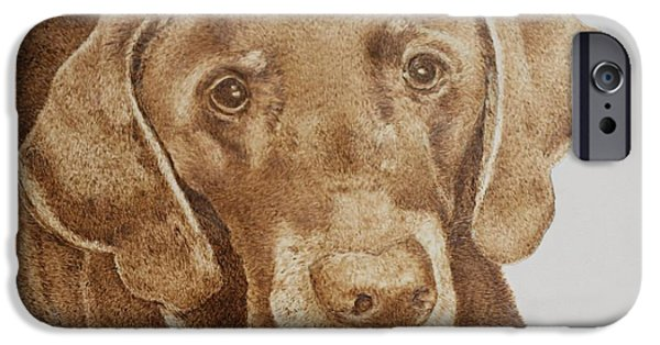 Chocolate Lab Pyrography iPhone Cases - Chocolate makes everything better iPhone Case by Dale Bradley