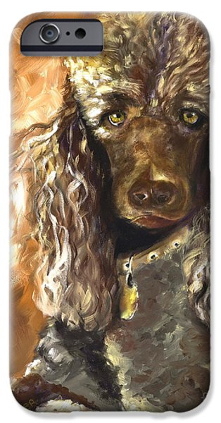 Dogs iPhone Cases - Chocolate Poodle iPhone Case by Susan A Becker