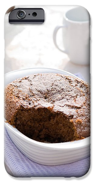 Table Cloth iPhone Cases - Chocolate Sponge Pudding iPhone Case by Amanda And Christopher Elwell