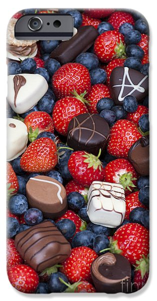 Blueberry iPhone Cases - Chocolates and Strawberries iPhone Case by Tim Gainey