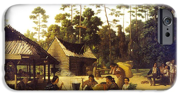 Log Cabin Digital iPhone Cases - Choctaw Village iPhone Case by George Catlin