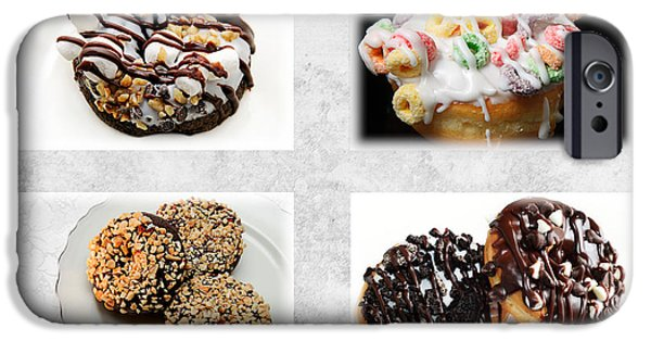 Chip Mixed Media iPhone Cases - Choice Of Donuts 4 x 4 Collage 1 - Bakery - Sweets Shoppe iPhone Case by Andee Design