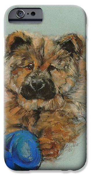 Puppies Pastels iPhone Cases - Chow chow  iPhone Case by Lana McCullars