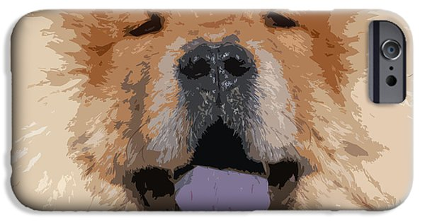 Puppy Digital Art iPhone Cases - Chow Chow iPhone Case by Nancy Merkle