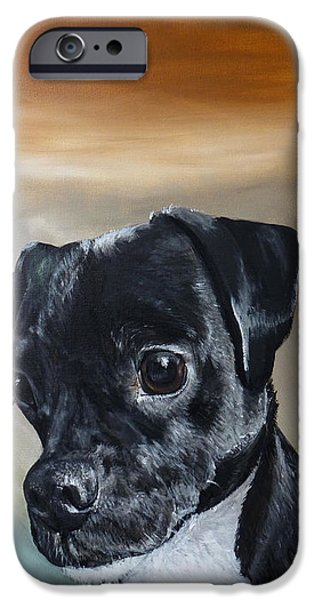 Dog Close-up Paintings iPhone Cases - Chowder The Pug Rat Terrier Mix iPhone Case by Michelle Iglesias