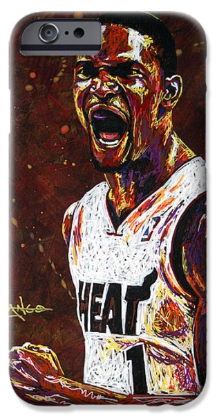 Miami Heat iPhone Cases - Chris Bosh iPhone Case by Maria Arango