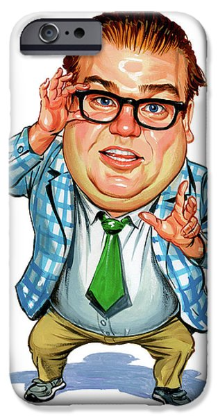 Celebrities Art iPhone Cases - Chris Farley as Matt Foley iPhone Case by Art