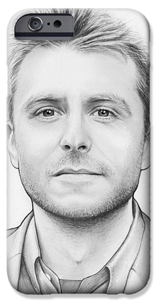 Black Portrait Drawings iPhone Cases - Chris Hardwick iPhone Case by Olga Shvartsur