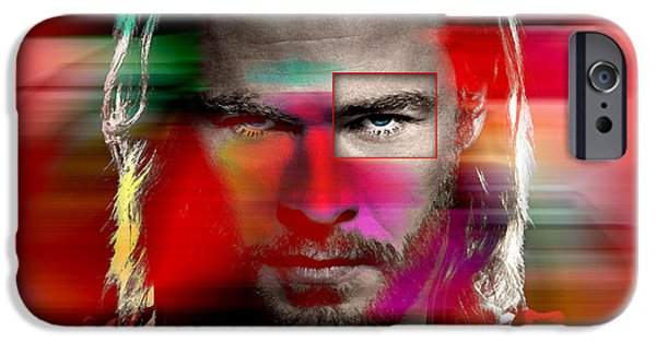 In Attendance iPhone Cases - Chris Hemsworth Painting iPhone Case by Marvin Blaine