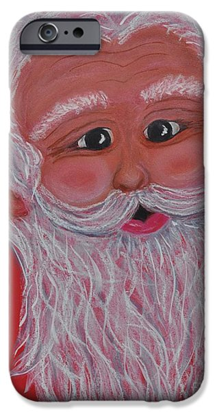 Santa Pastels iPhone Cases - Chris Kringle iPhone Case by Sally Rice