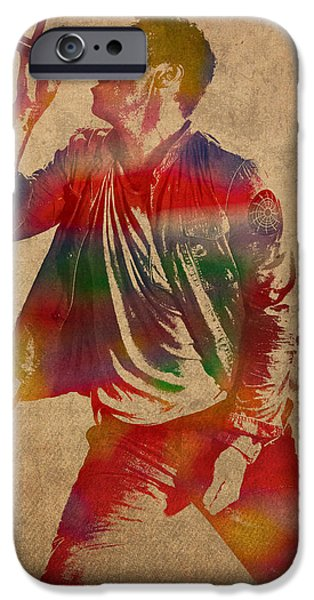 Chris iPhone Cases - Chris Martin Coldplay Watercolor Portrait on Worn Distressed Canvas iPhone Case by Design Turnpike