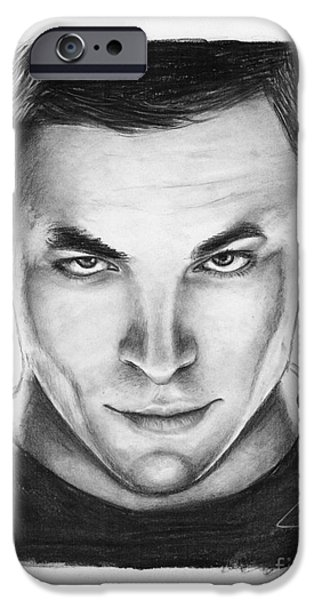 Pines Drawings iPhone Cases - Chris Pine iPhone Case by Rosalinda Markle