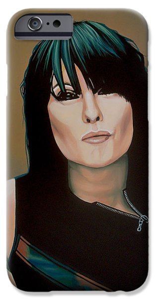 Realistic Art iPhone Cases - Chrissie Hynde iPhone Case by Paul  Meijering