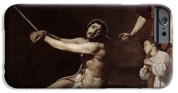 Life Of Christ iPhone Cases - Christ After the Flagellation Contemplated by the Christian Soul iPhone Case by Diego Rodriguez de Silva y Velazquez