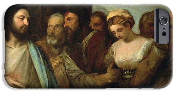 Renaissance iPhone Cases - Christ And The Adulteress, 1512-15 iPhone Case by Titian