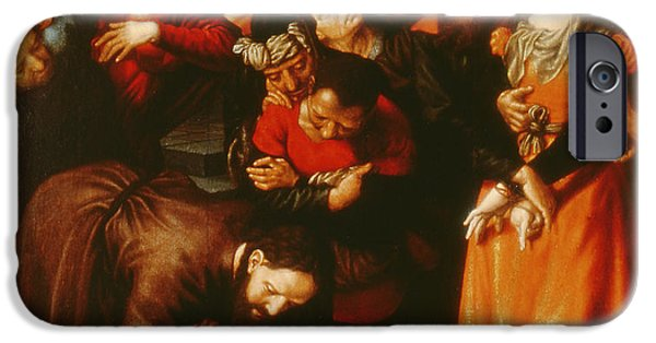 Jesus Photographs iPhone Cases - Christ And The Woman Taken In Adultery Oil On Panel iPhone Case by Jan Sanders van Hemessen