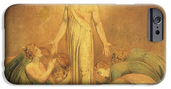 Religious Drawings iPhone Cases - Christ Appearing to the Apostles after the Resurrection iPhone Case by William Blake