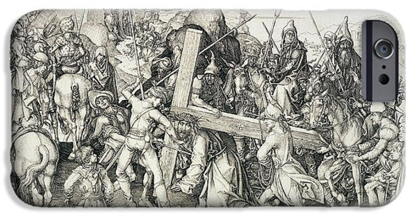 Son Of God Drawings iPhone Cases - Christ bearing his cross iPhone Case by Martin Schongauer
