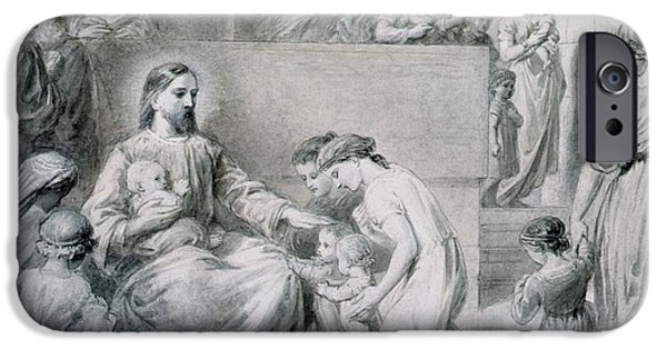 Child iPhone Cases - Christ Blessing Little Children iPhone Case by Warwick Brookes