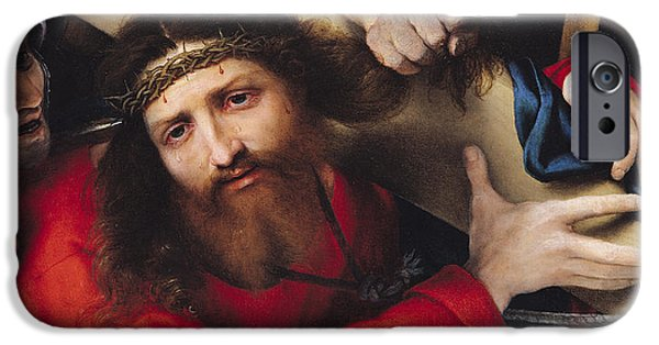 Calvary iPhone Cases - Christ Carrying The Cross, 1526 Oil On Canvas iPhone Case by Lorenzo Lotto