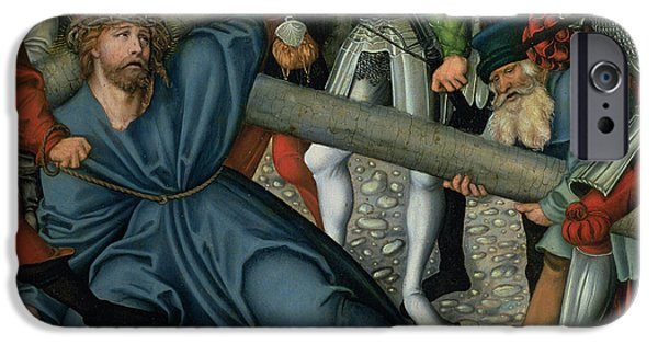 Life Of Christ iPhone Cases - Christ Carrying the Cross iPhone Case by Lucas Cranach