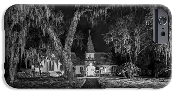 Cemetary iPhone Cases - Christ Church BW iPhone Case by Debra and Dave Vanderlaan