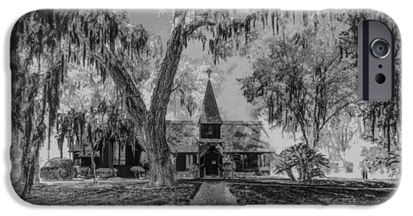 Pen And Ink Photographs iPhone Cases - Christ Church Etching iPhone Case by Debra and Dave Vanderlaan