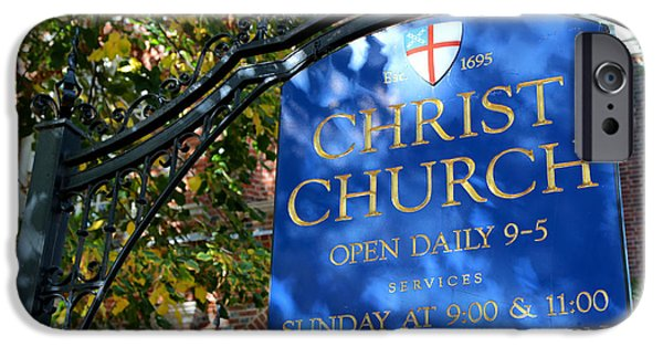 Franklin iPhone Cases - Christ Church Sign -- Philadelphia iPhone Case by Stephen Stookey