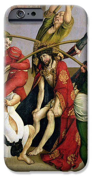 Torment iPhone Cases - Christ Crowned With Thorns Oil On Panel iPhone Case by Jorg I Breu