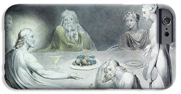 William Blake Drawings iPhone Cases - Christ in the House of Martha and Mary or The Penitent Magdalene iPhone Case by William Blake