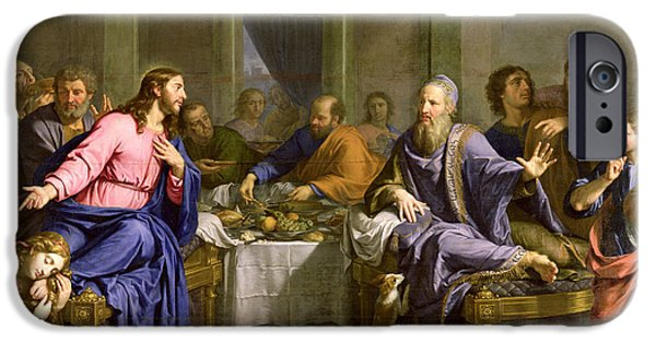 Bible iPhone Cases - Christ in the House of Simon the Pharisee iPhone Case by Philippe de Champaigne
