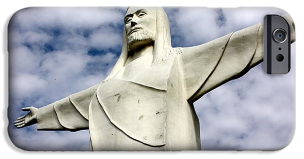 Arkansas iPhone Cases - Christ of the Ozarks Statue iPhone Case by Robin EL-Hachem
