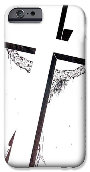 Jesus Drawings iPhone Cases - Christ on Cross iPhone Case by Justin Moore