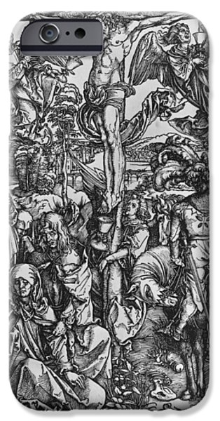 The Passion Of Christ Drawings iPhone Cases - Christ on the cross iPhone Case by Albrecht Durer or Duerer