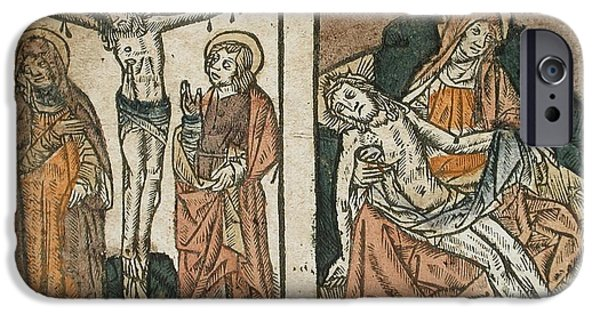 Miracle Pyrography iPhone Cases - Christ on the Cross and The Lamentation  iPhone Case by Libellule Gallery