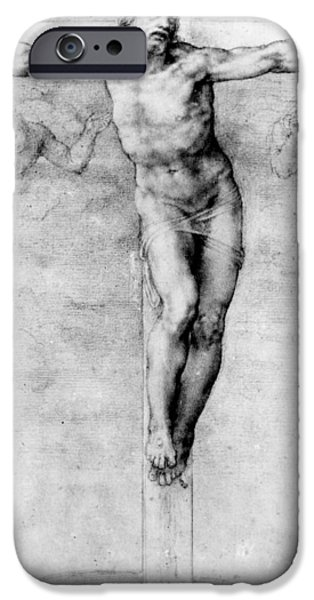 Christ Drawings iPhone Cases - Christ on the Cross iPhone Case by Michelangelo Buonarroti
