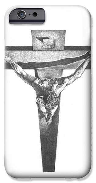 Jesus Drawings iPhone Cases - Christ on the Cross iPhone Case by Yana Wolanski
