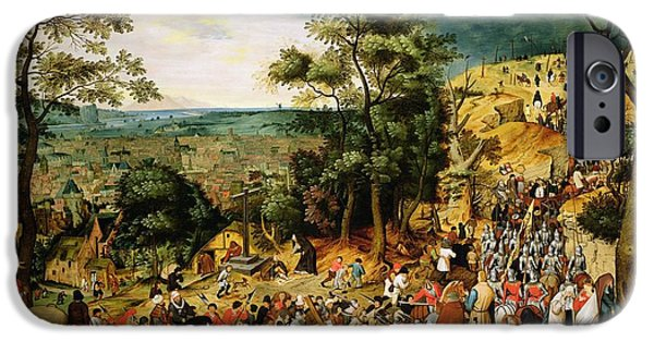 Narrative iPhone Cases - Christ On The Road To Calvary, 1607 Panel iPhone Case by Pieter the Younger Brueghel