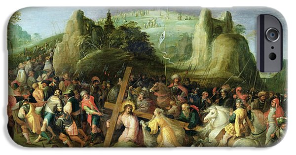 Calvary iPhone Cases - Christ on the Road to Calvary iPhone Case by Frans II the Younger Francken