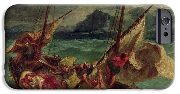Belief iPhone Cases - Christ on the Sea of Galilee iPhone Case by Delacroix