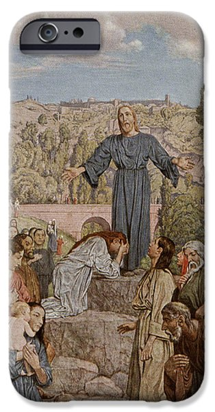 Life Of Christ iPhone Cases - Christ preaching iPhone Case by Hans Thoma