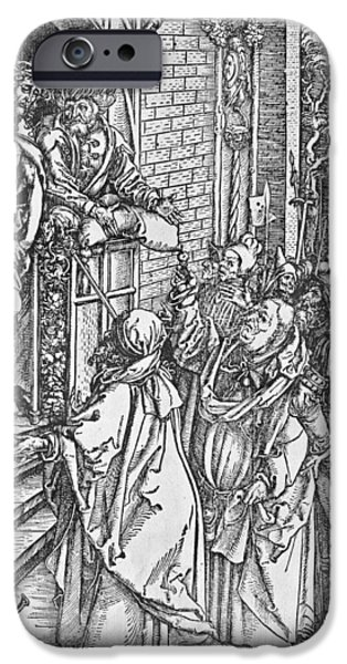 The Passion Of Christ Drawings iPhone Cases - Christ presented to the people iPhone Case by Albrecht Durer or Duerer