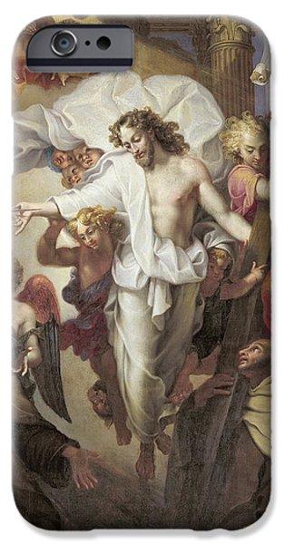 Seraphim Angel iPhone Cases - Christ Resurrected between St Teresa of Avila iPhone Case by Michel des Gobelins Corneille