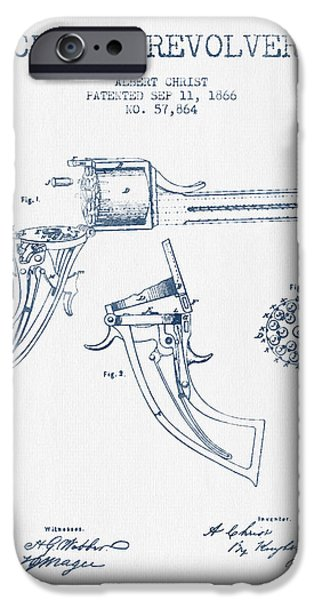 Weapon iPhone Cases - Christ revolver Patent Drawing from 1866 -  Blue Ink iPhone Case by Aged Pixel