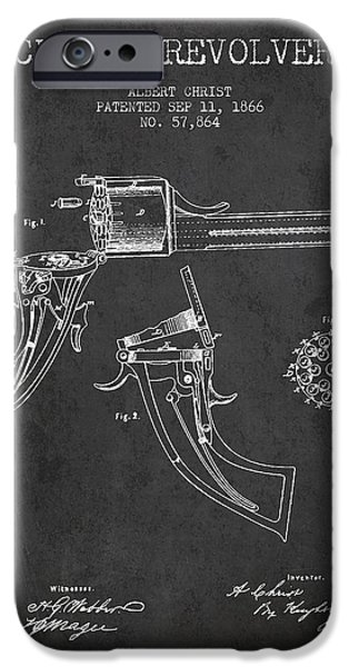 Weapon iPhone Cases - Christ revolver Patent Drawing from 1866 - Dark iPhone Case by Aged Pixel
