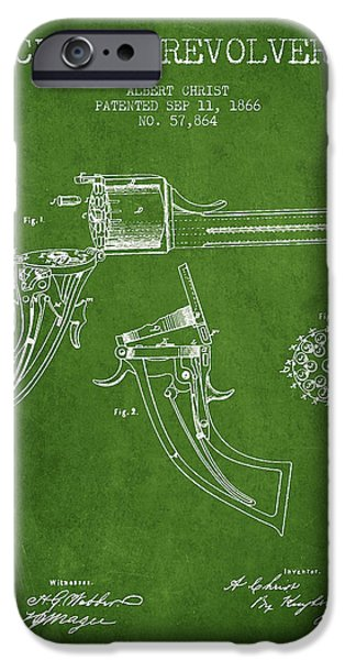 Weapon iPhone Cases - Christ revolver Patent Drawing from 1866 - Green iPhone Case by Aged Pixel