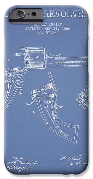 Weapon iPhone Cases - Christ revolver Patent Drawing from 1866 - Light Blue iPhone Case by Aged Pixel