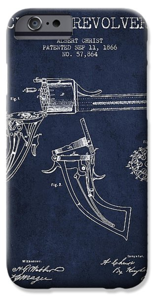 Weapon iPhone Cases - Christ revolver Patent Drawing from 1866 - Navy Blue iPhone Case by Aged Pixel