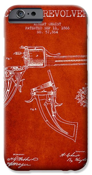 Weapon iPhone Cases - Christ revolver Patent Drawing from 1866 - Red iPhone Case by Aged Pixel